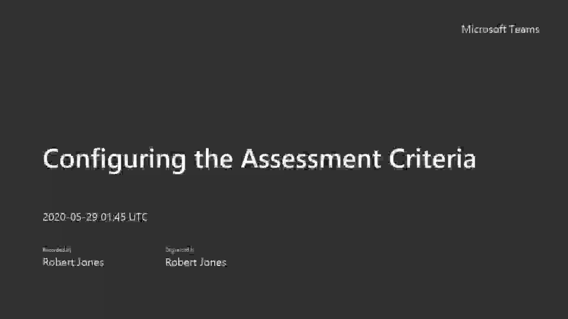 5.3 Configuring the Assessment Criteria