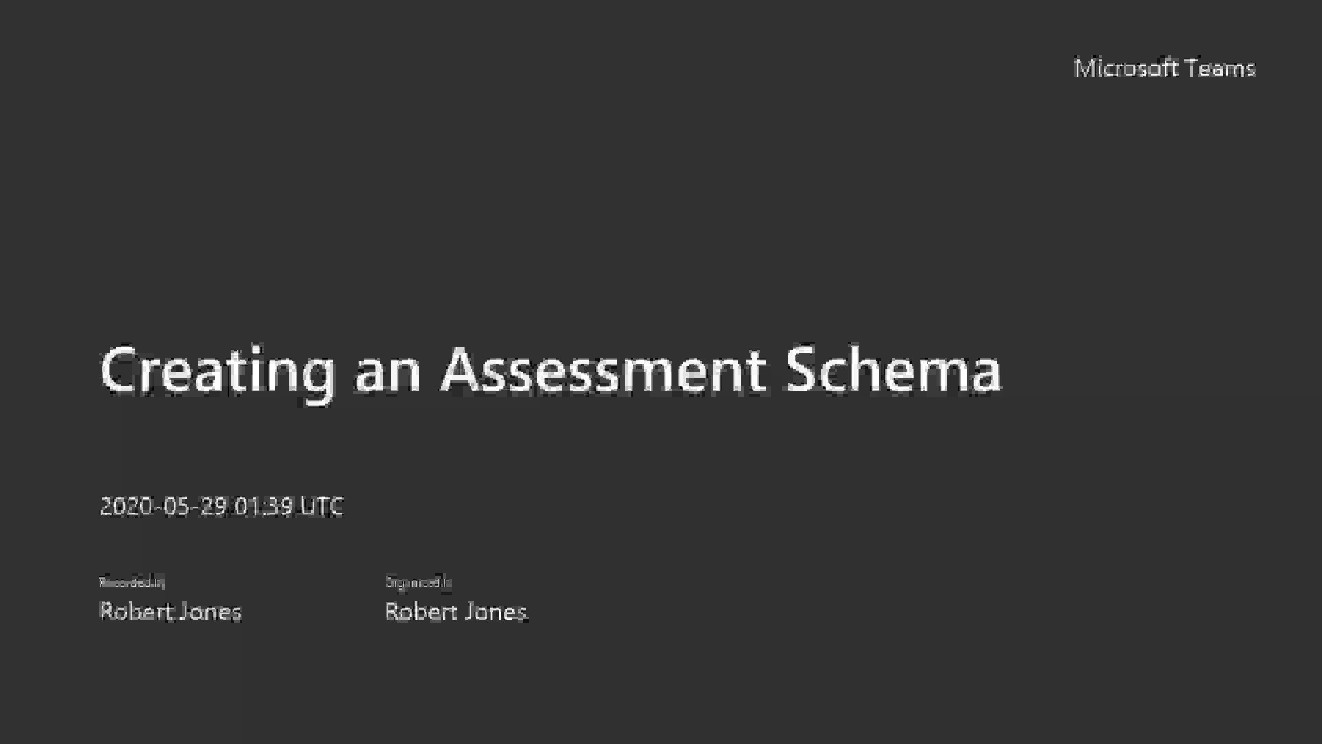 5.2 Creating an Assessment Schema