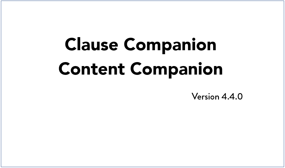 Q4 2019 Clause and Content Companion Update Video