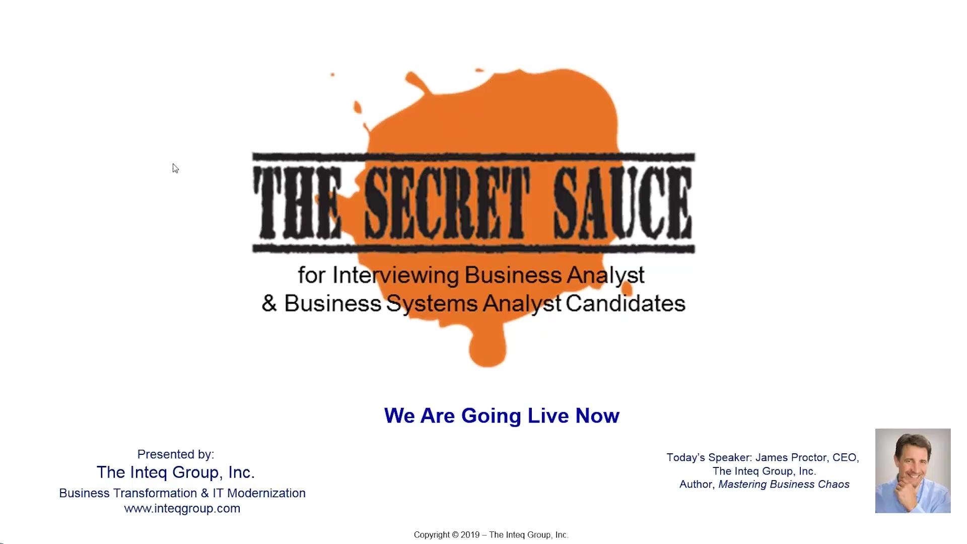 Inteq Interviewing BAs Secret Sauce Webinar