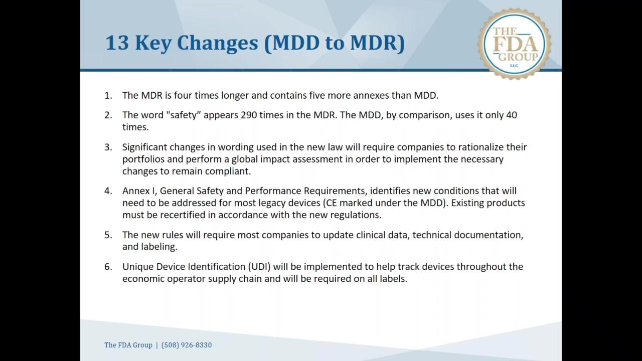 The FDA Group - EU-MDR - Webinar - 13 Key Changes Snippet