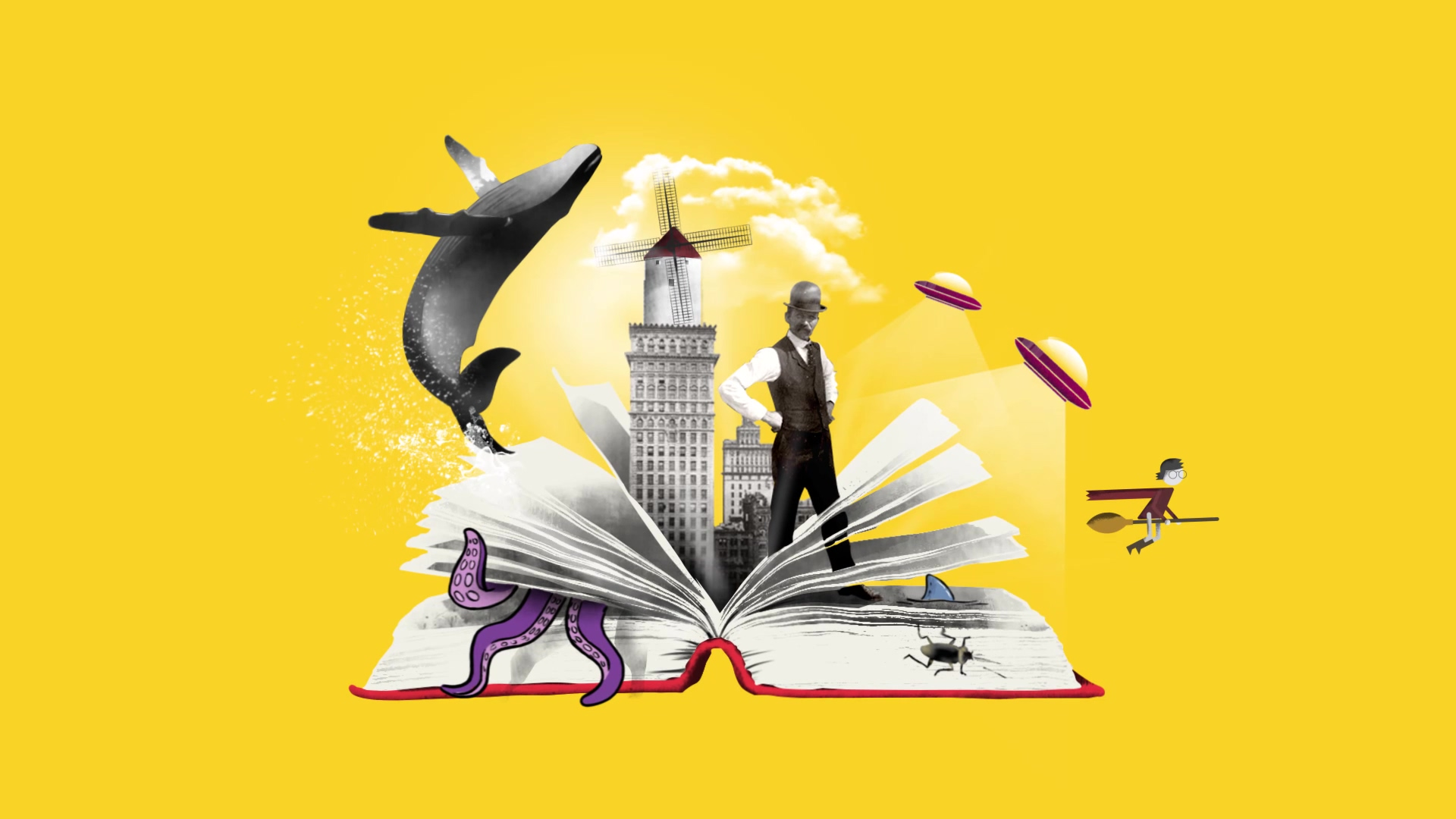 International Book Day animated collage yellow sound