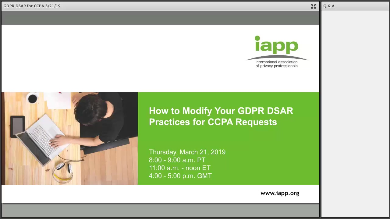 IAPP Webinar march 2019 how to GDPR to CCPA