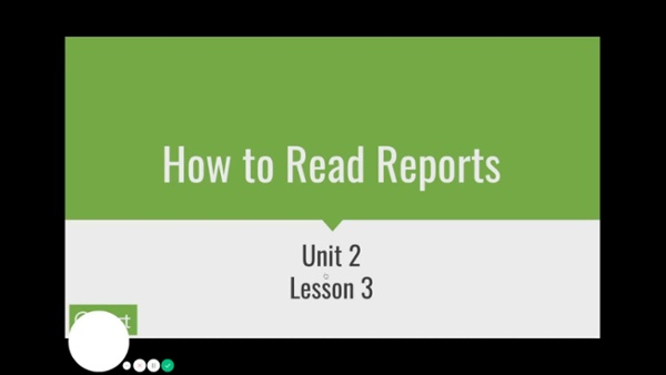 Unit 2 Lesson 3 - Reading Reports