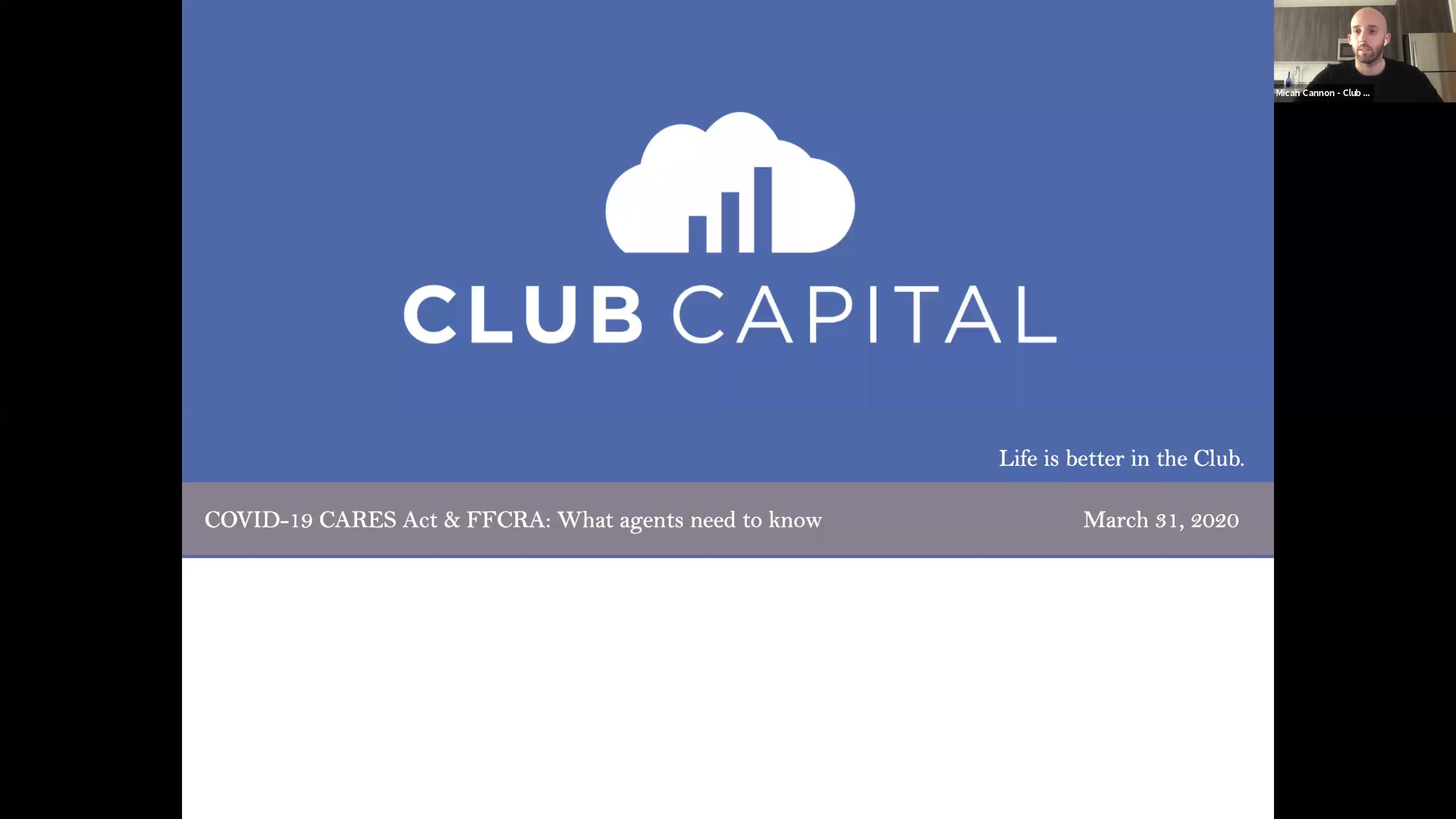 Club Capital_Webinar_COVID 19 FFCRA & CARES Act