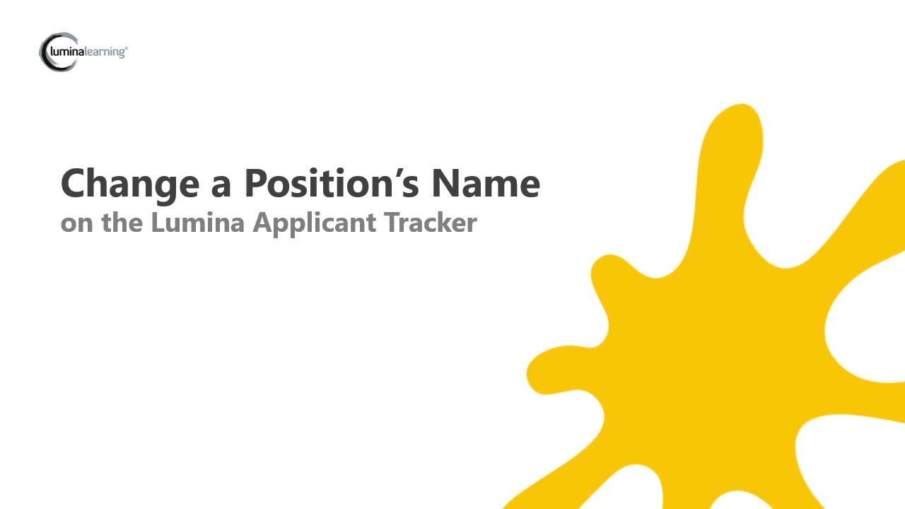 Change a Positions Name