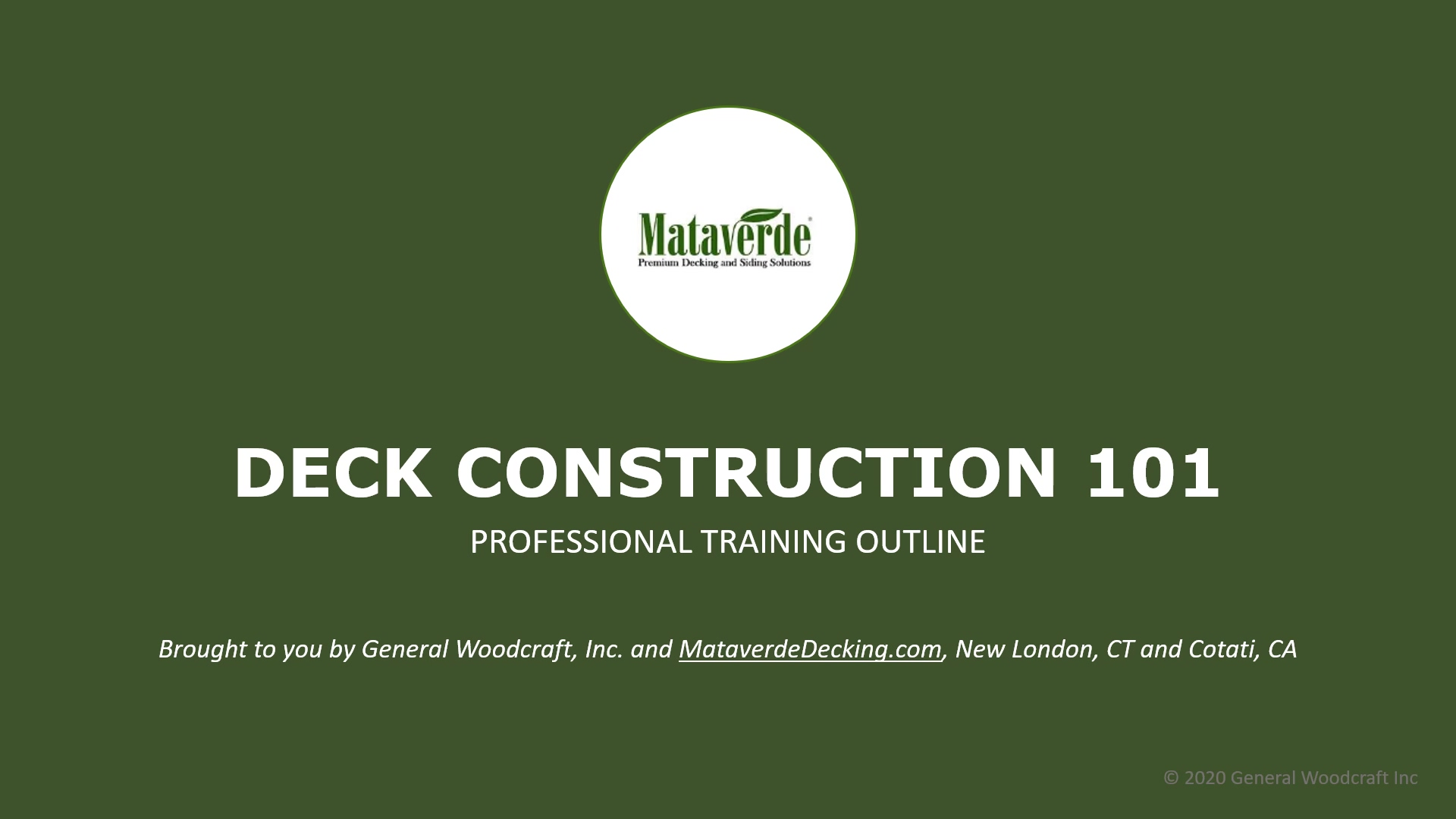 DECK CONSTRUCTION 101 Online Training