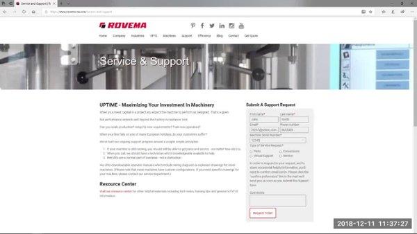 Rovema service & support ticket process