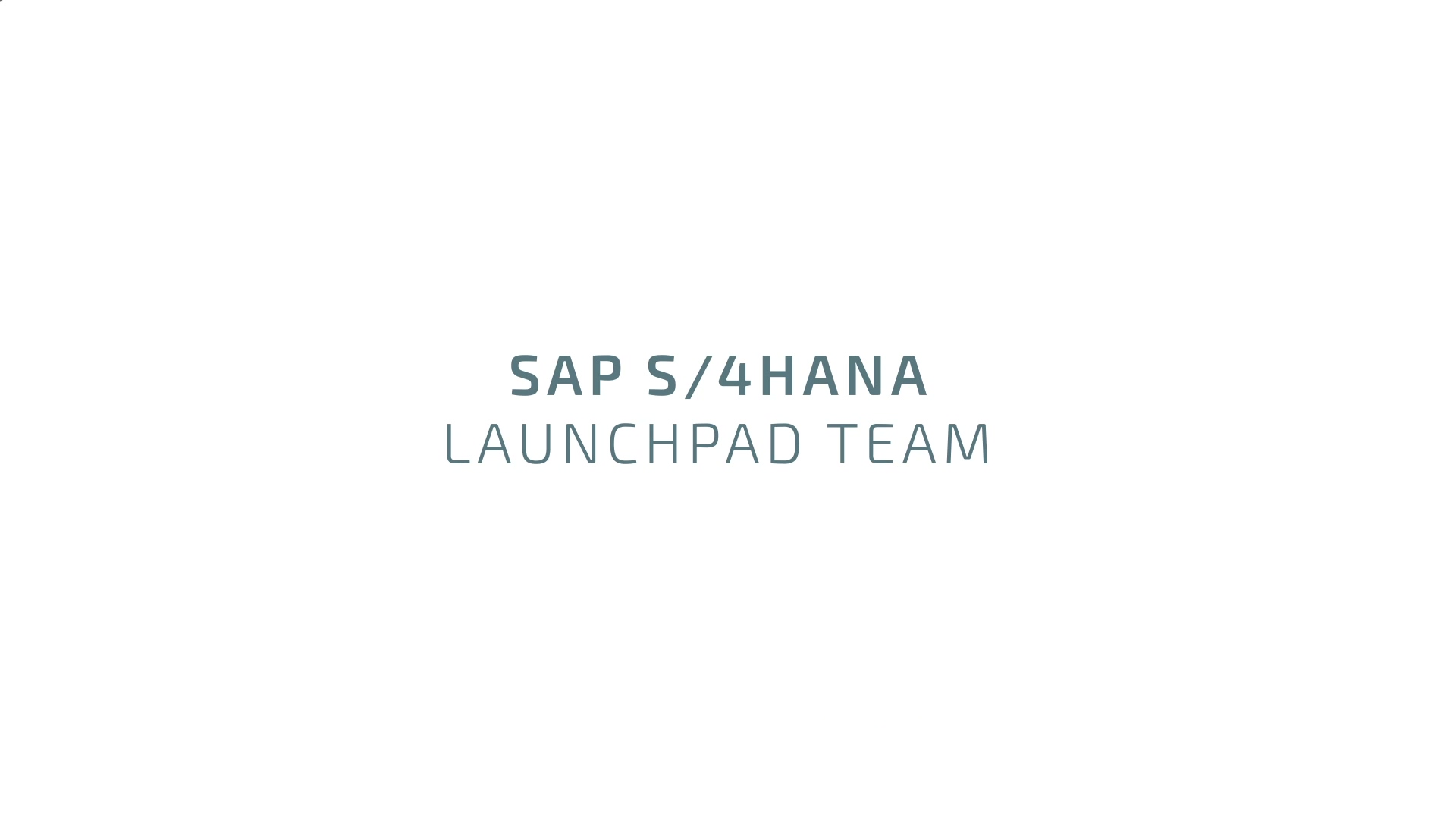 S4H LaunchPad Team