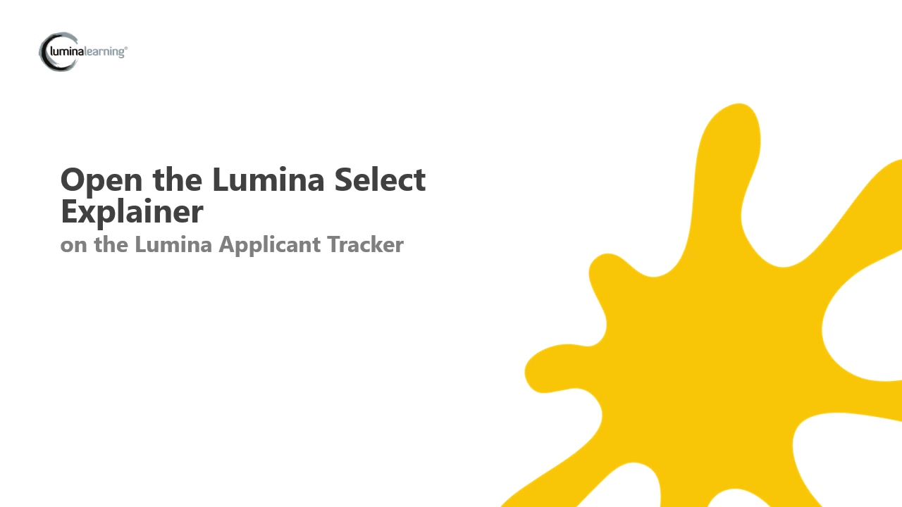 Open the Lumina Select Explainer