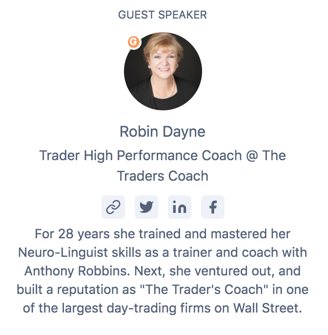 Developing A Traders Mindset with Coach Robin Dayne - Wednesday, November 20th 2019 - 700 PM (EET)