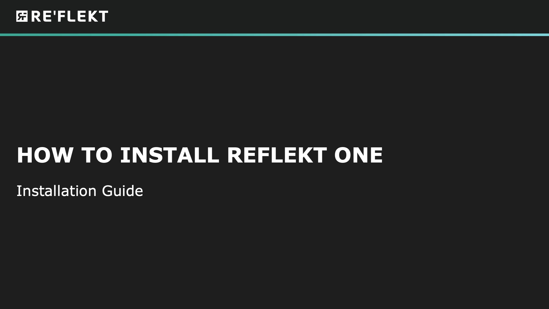 How to install REFLEKT_ONE