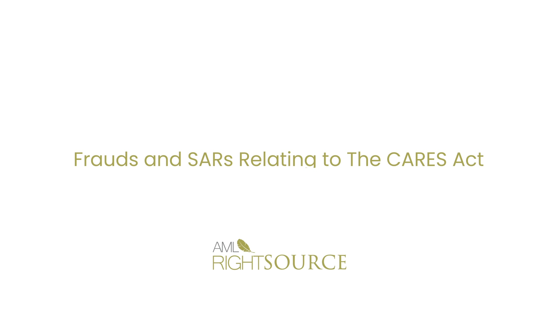 Frauds and SARs Relating to The CARES Act