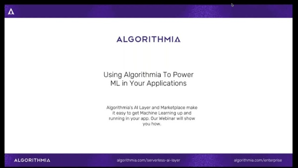 MONTHLY - Using Algorithmia To Power ML in Your Applications