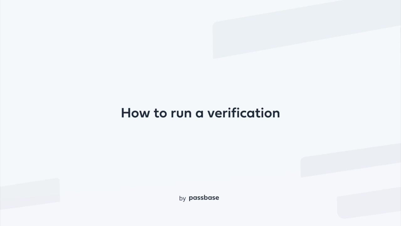 How to run a verification-1