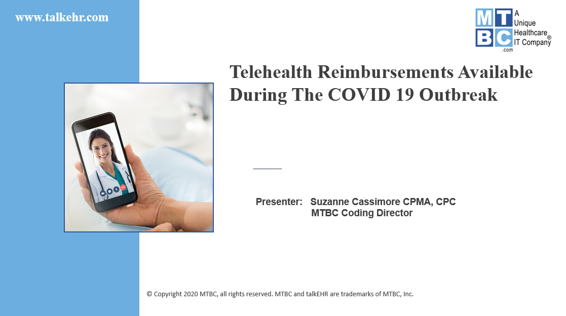 Telehealth Reimbursements during COVID-19 2020.0326