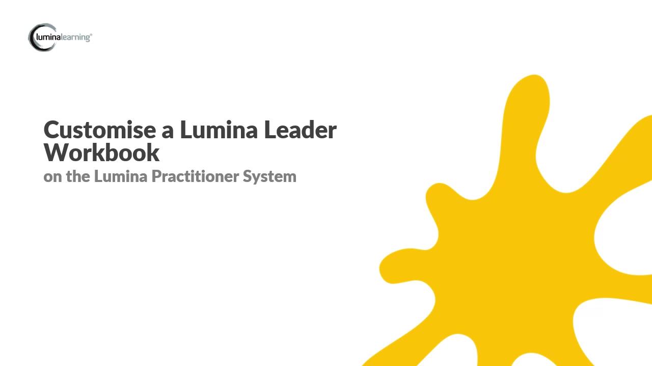 Customise Leader Workbook