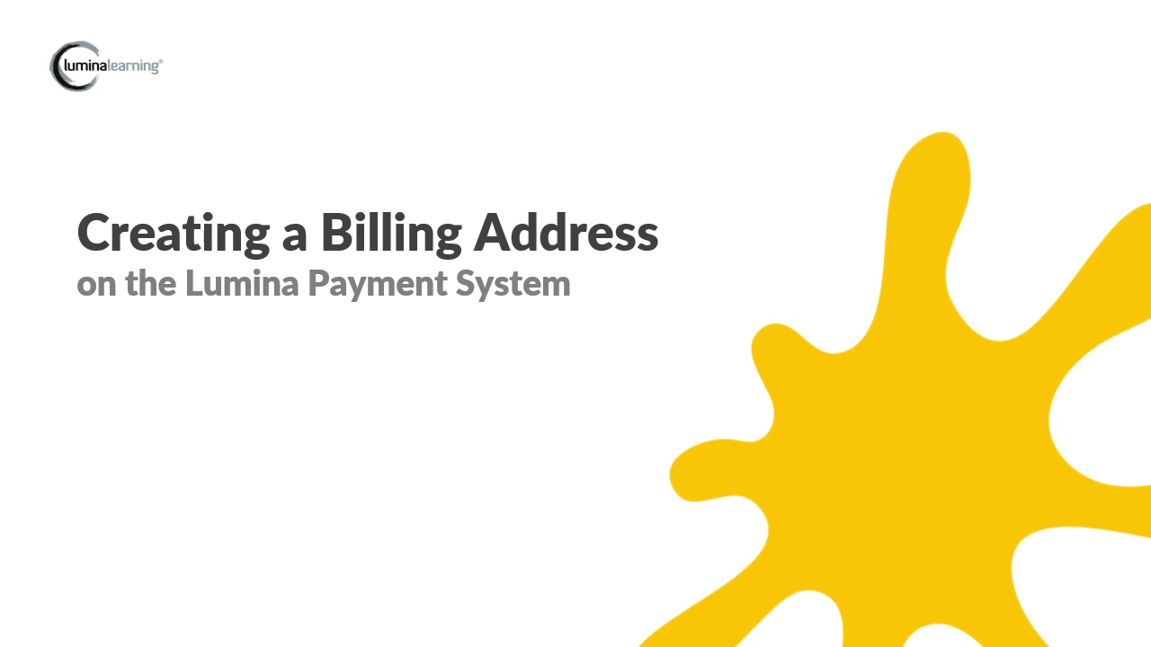 Create a billing address - New Payment System SYSTEM GUIDE