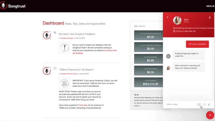 Songtrust_Live_Chat_Dashboard