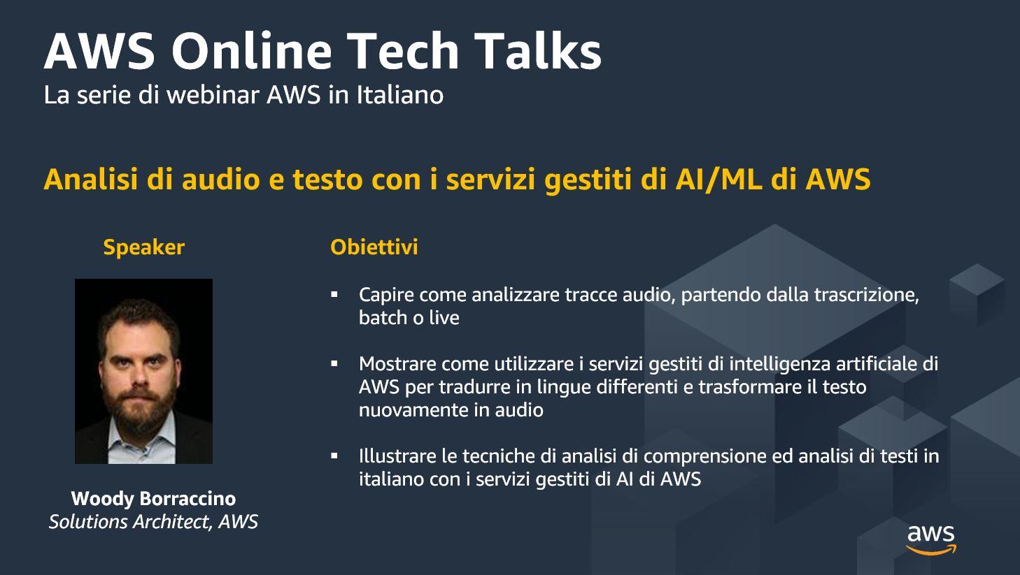 Analisi di audio e testo con i servizi gestiti di AI-ML di AWS