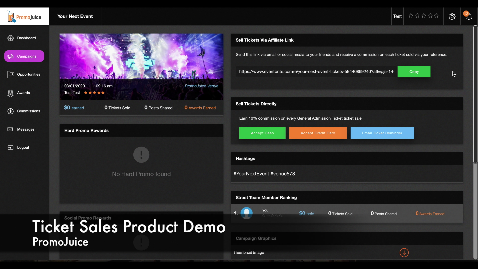 Ticket Sales Product Demo