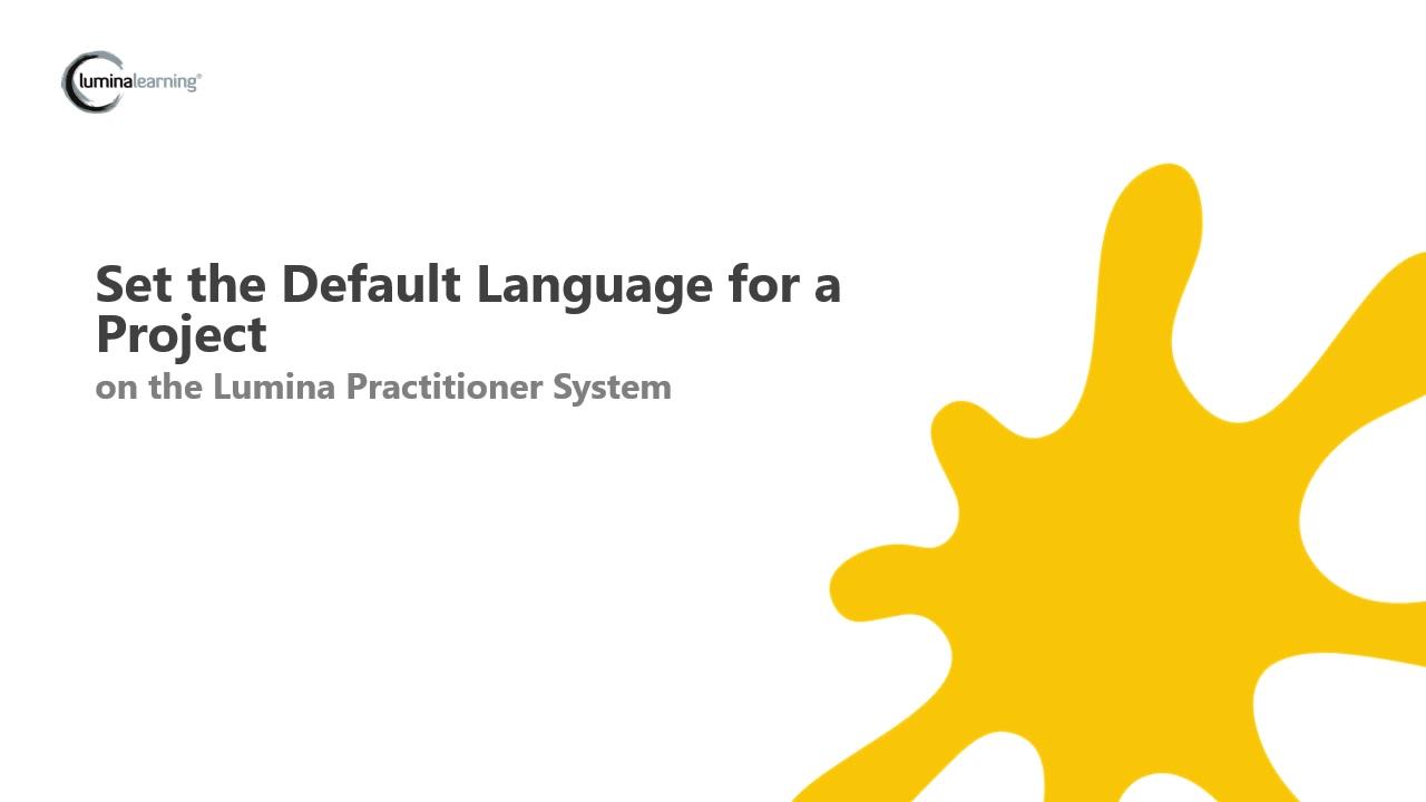 Set default languages for a project