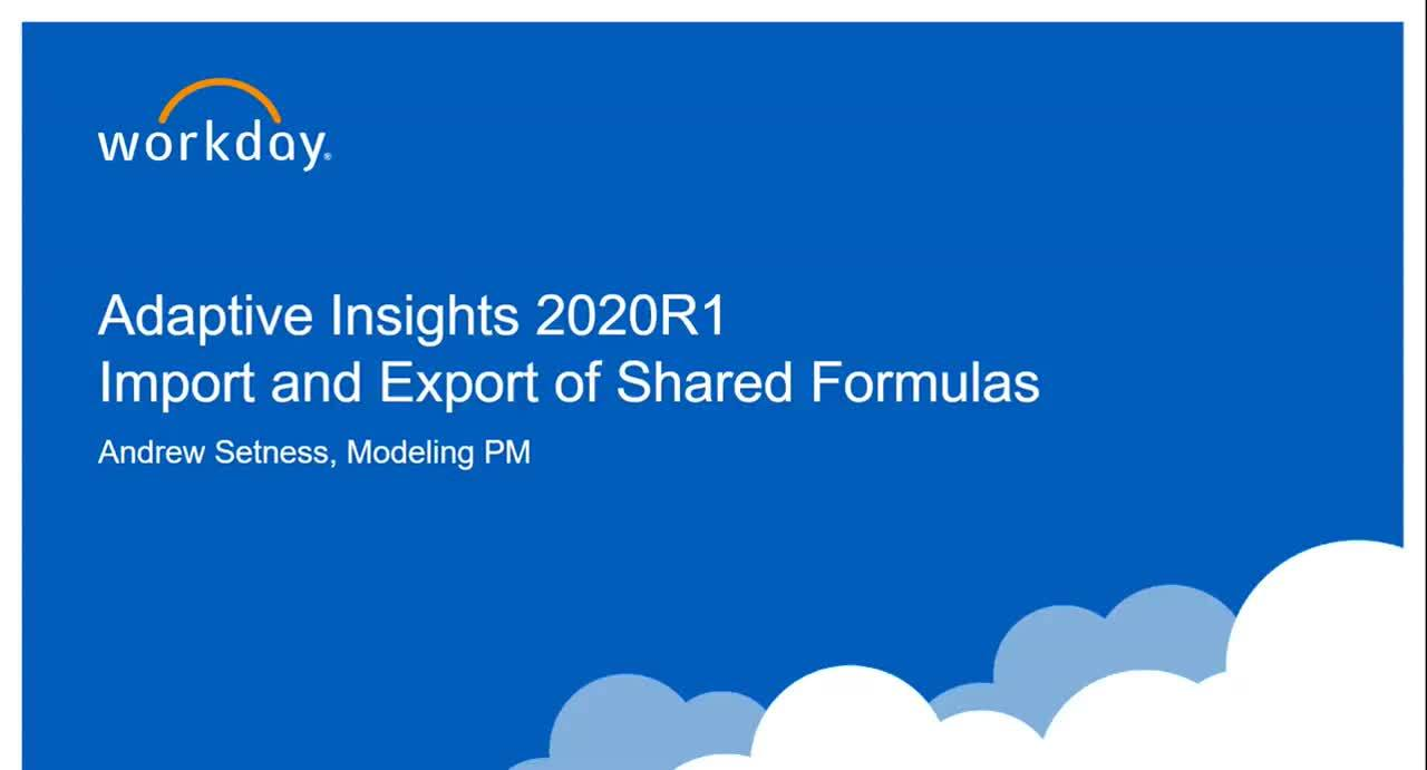 Import and Export of Shared Formulas - What's New 2020R1