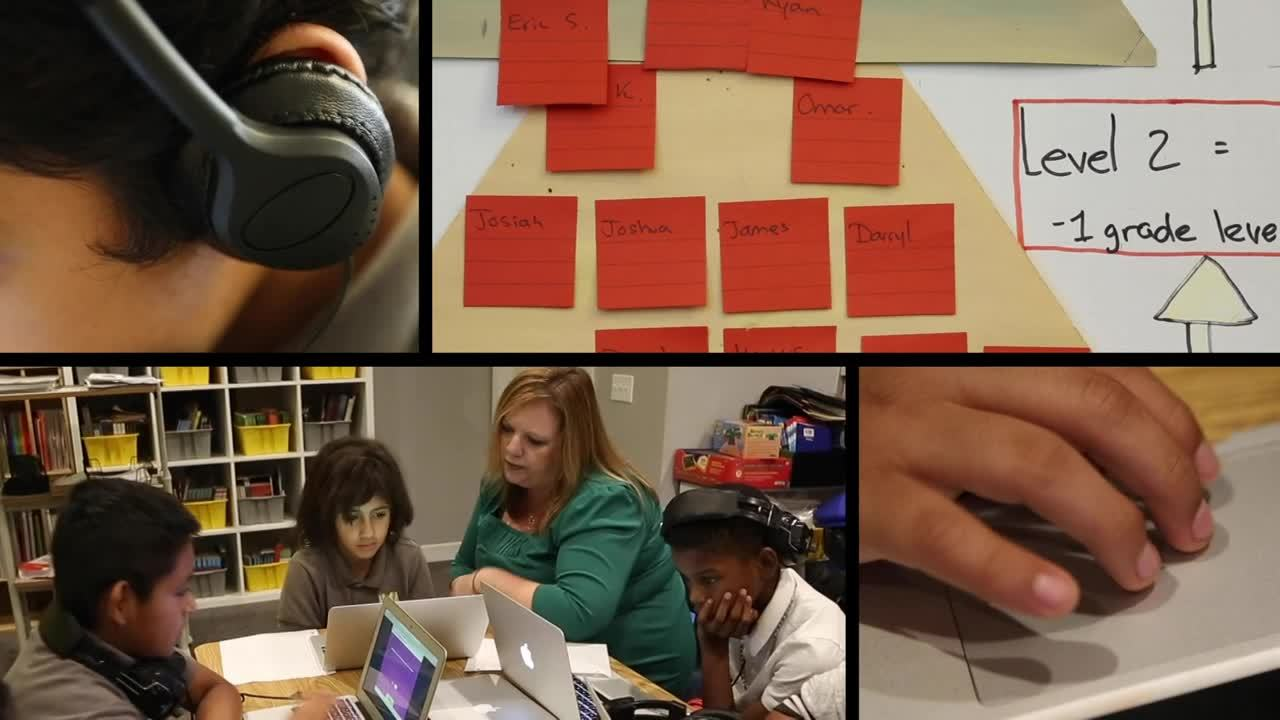 Collage of four images. Head with headphones, whiteboard with student names on sticky notes, three students working on i-Ready with a teacher helping them, fingers on touchpad.