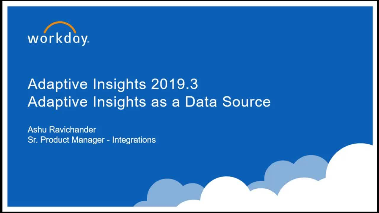 Adaptive Insights as a Data Source - What's New 2019.3