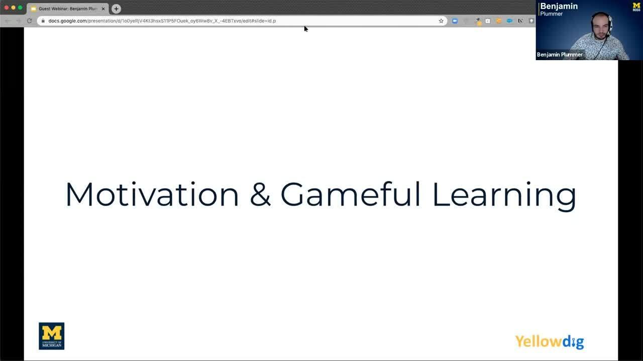 Ben Plummer  - Gameful Learning Webinar Introduction