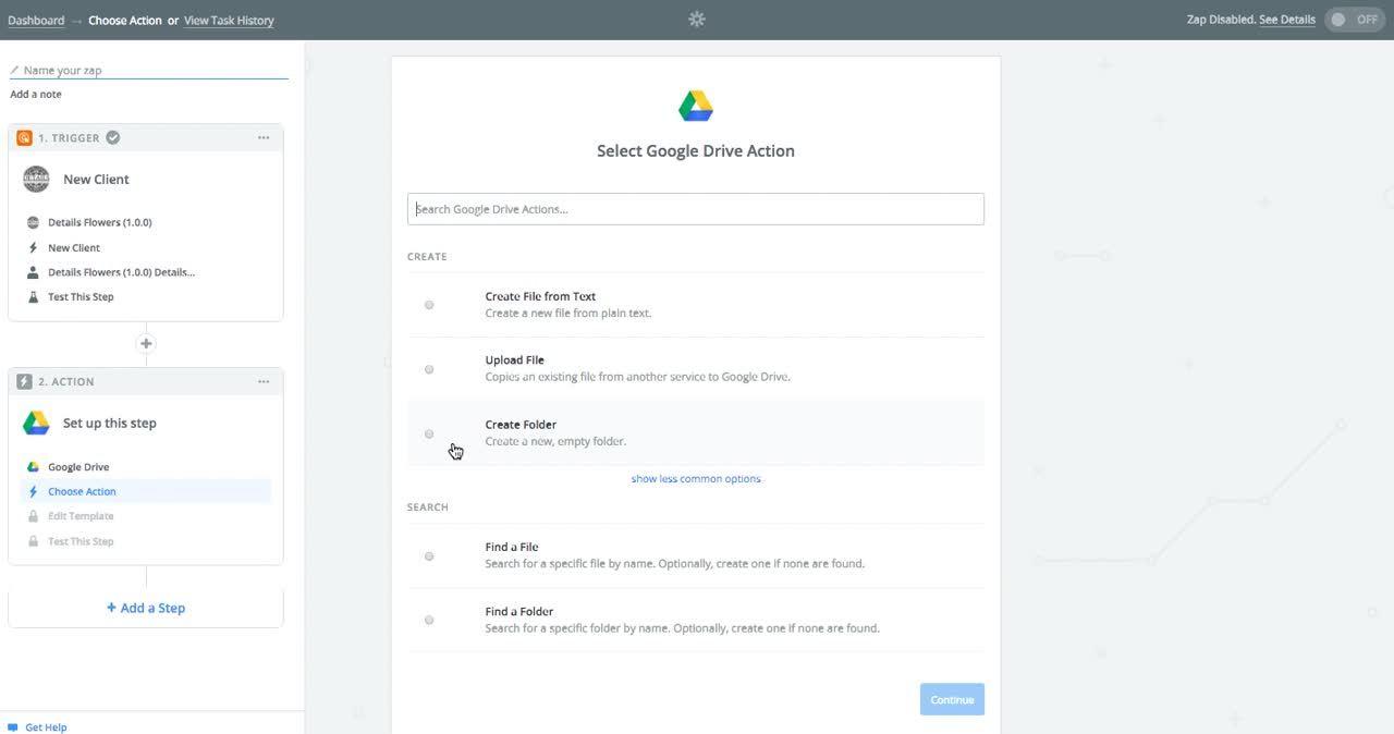 New Google Folder - Zapier