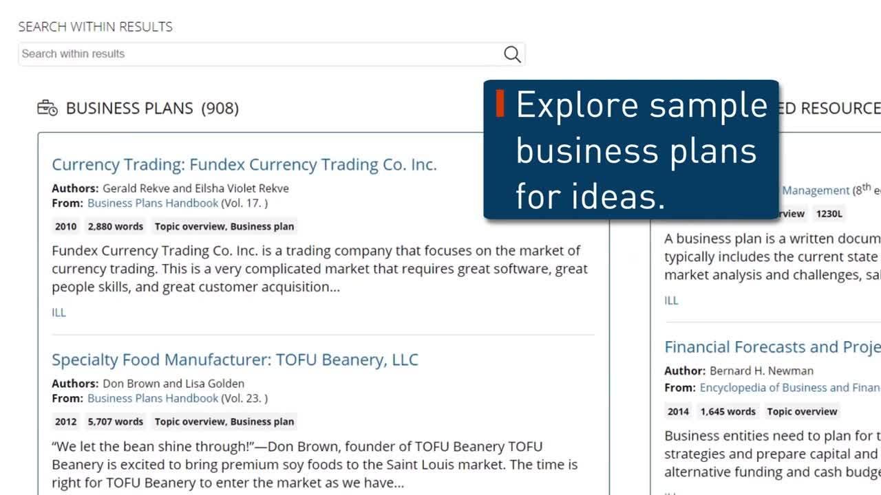 Gale Business: Entrepreneurship - Business Plans Thumbnail