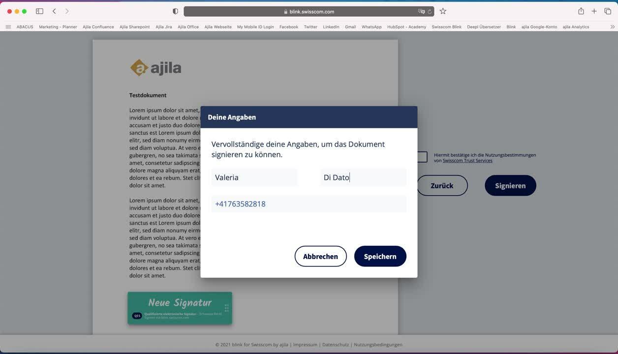 Dokument signieren via blink Plattform