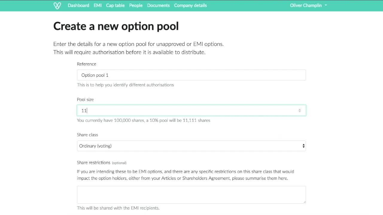 Authorising a share pool