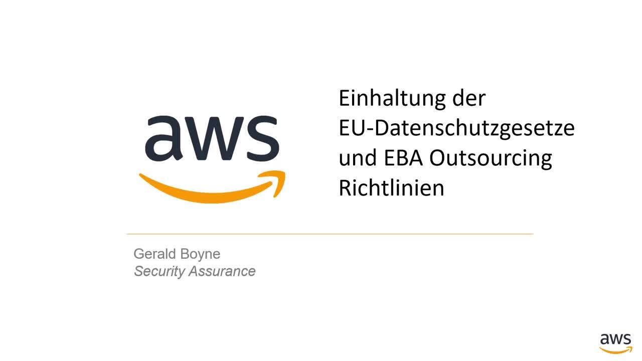 Einhaltung der EU-Datenschutzgesetze und EBA Outsourcing Richtlinien