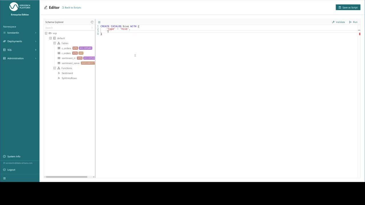 Flink SQL on Ververica Platform, Flink SQL, Apache Hive, Hive Metastore