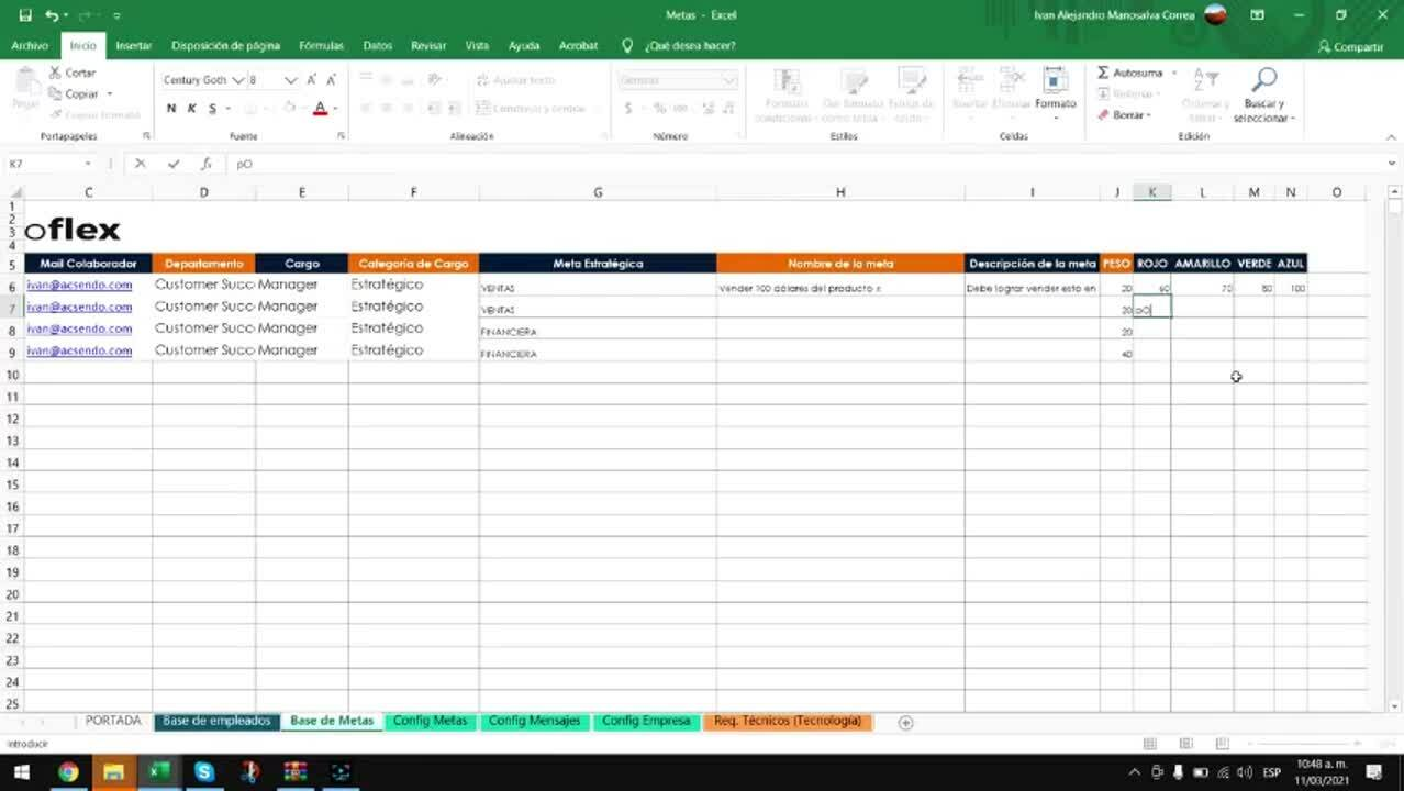 Como llenar archivo de metas - objetivos