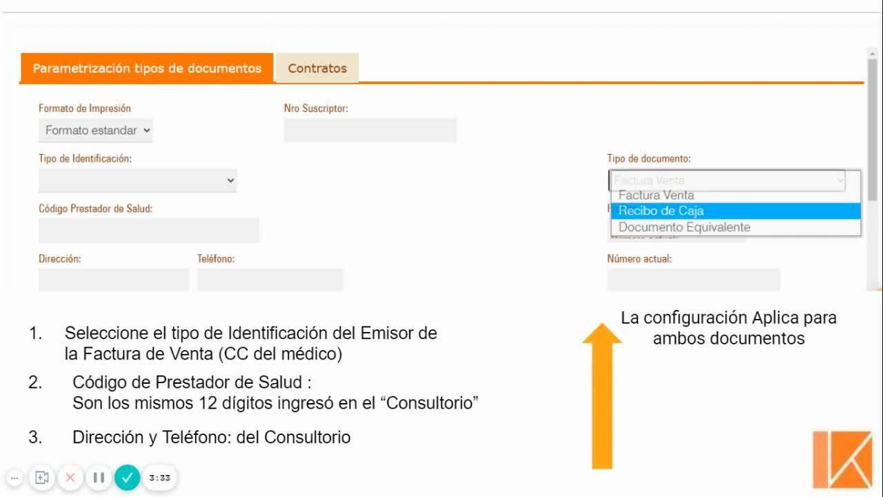 Configuración de Facturación - RECIBO DE CAJA O DOCUMENTO EQUIVALENTE