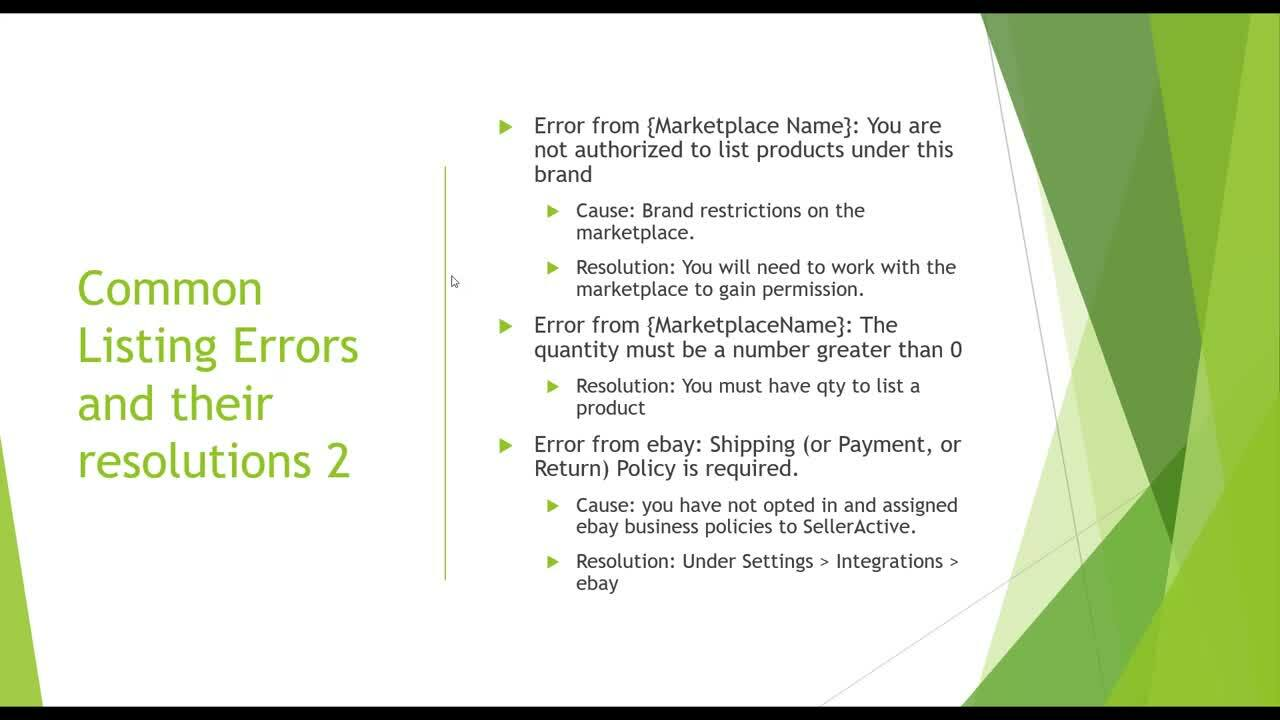 Working with Listing Errors