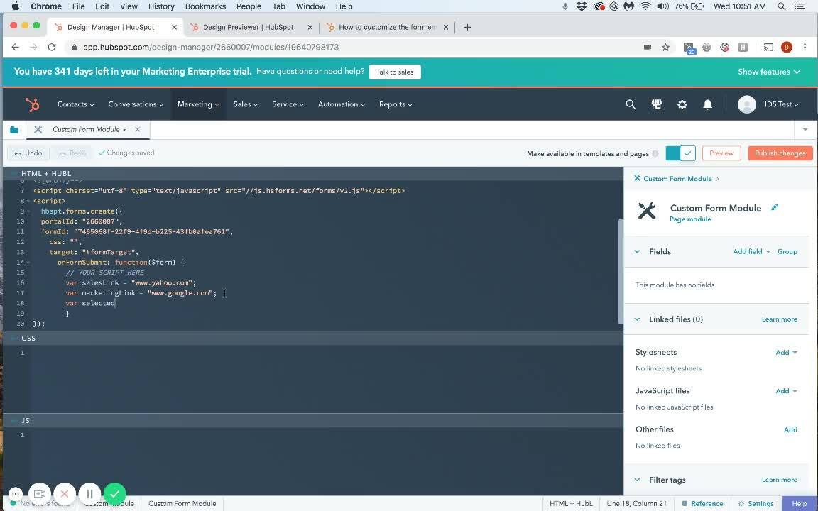 Step 2 of the form embed code customization
