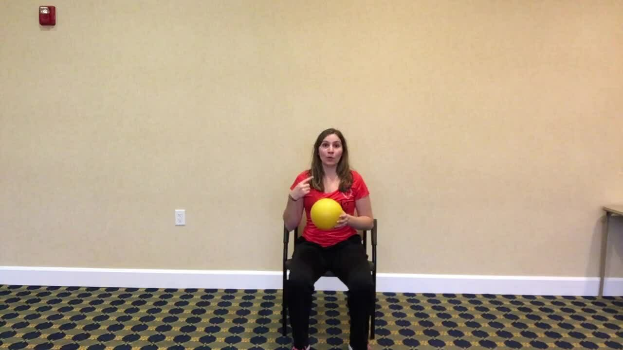 24-Heart health month chair squat with overhead press