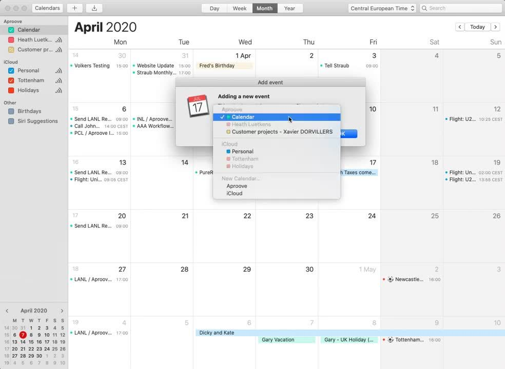 Add Aproove Task to Calendar