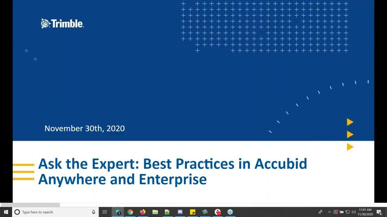 Ask the Expert - Best Practices for Accubid Anywhere and Accubid Enterprise