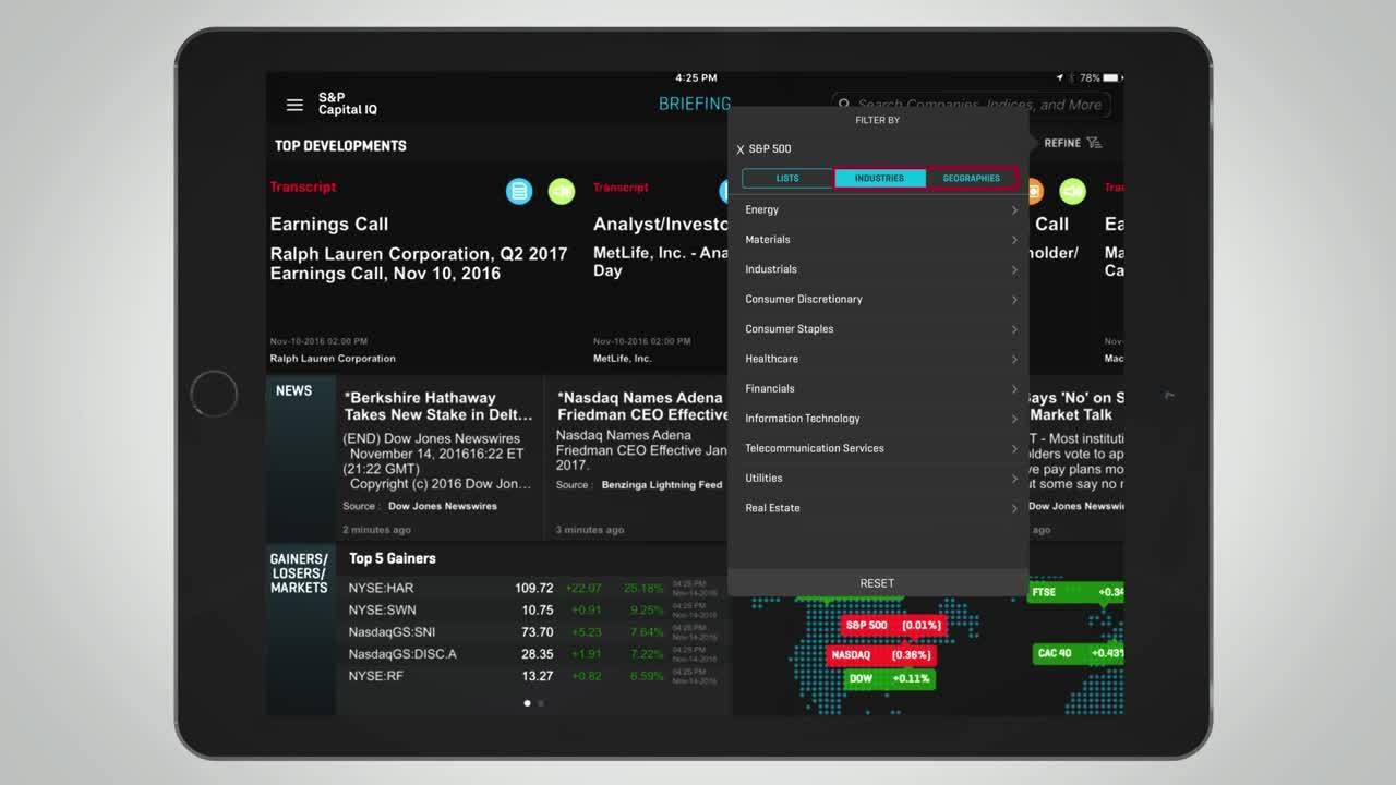 The S&P Capital IQ App for iPad