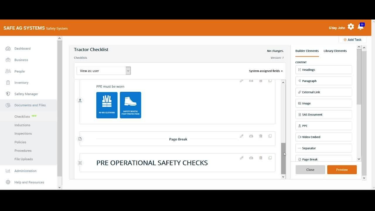 Checklist Builder Overview