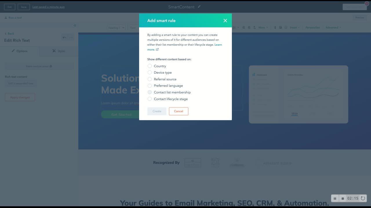 Configuração do Smart Content
