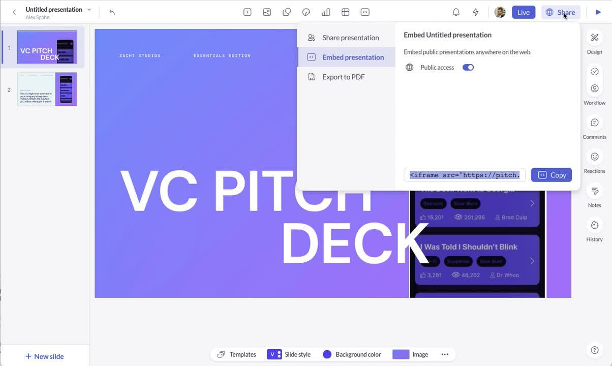 Pitch integration demo