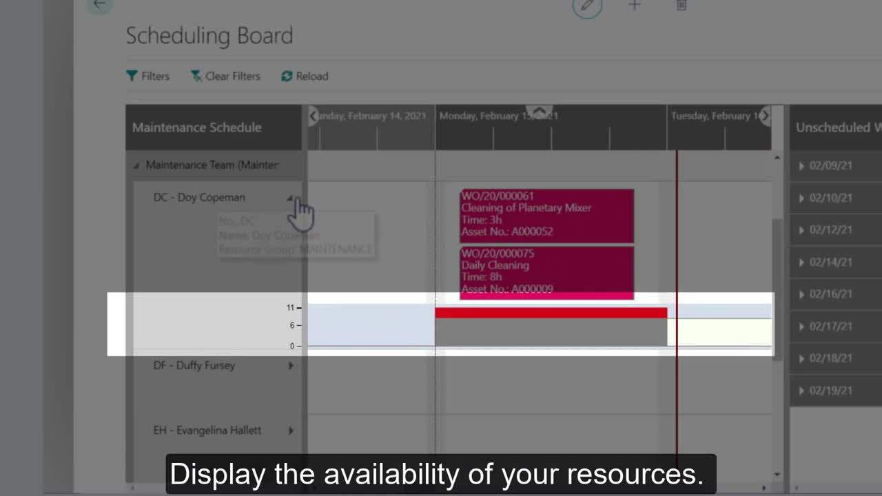 EAM for Business Central_ Dynaway Scheduling Board