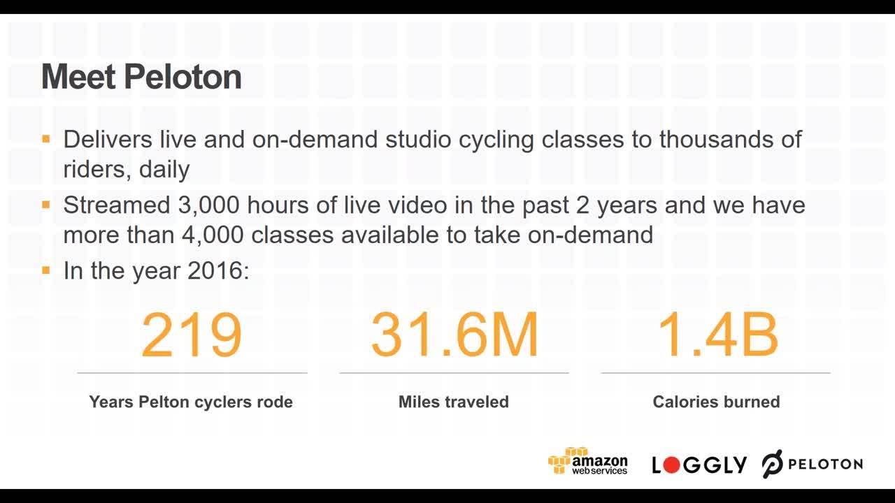 Webinar Peloton Cycle - Streaming Live Spin Classes to Thousands with Loggly and AWS