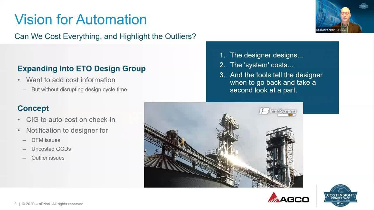 Expanding aPriori From Manufacturing Engineering Into Design | Cost Insight Conference 2020 AGCO Case Study